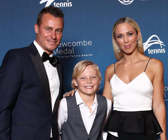 Lleyton with his son Crus, 10 and wife Bec Hewitt. *(Source: Getty)*