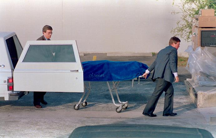 The body of Theodore 'Ted' Bundy is taken to the Alachua County Medical Examiner's office following his execution at 7:16 a.m. Bundy was executed for the murder of Kimberly Leach of Lake City. *(Source: Getty)*