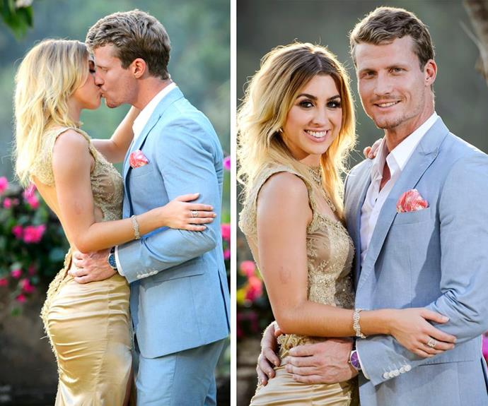 Alex Nation and Richie Strahan after the finale of *The Bachelor* 2016. *(Source: Network Ten)*