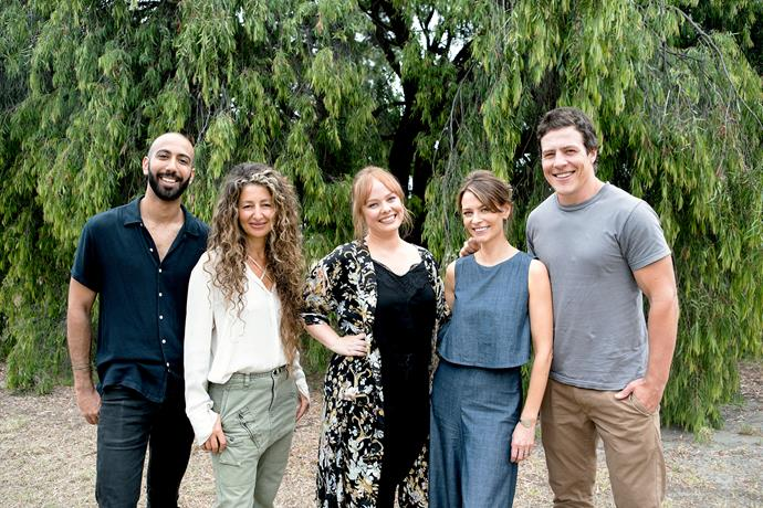The lead stars of *Five Bedrooms:* Roy Joseph, Doris Younane, Katie Robertson, Kat Stewart, Stephen Peacocke.