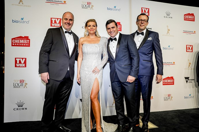 Shane Crawford (middle) at the 2017 TV WEEK Logie Awards with Craig Hutchinson, Rebecca Maddern and Damian Barett.