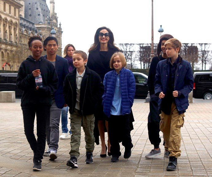 Angelina Jolie with her and Brad's kids: Maddox, 17, Pax, 15, Zahara, 14, Shiloh, 12 and twins, Knox and Vivienne, 10. *(Source: Getty)*