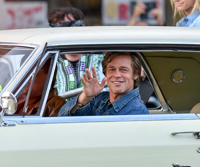 Brad on the set of his new film *Once Upon a Time* In Hollywood in 2018. *(Source: Getty)*