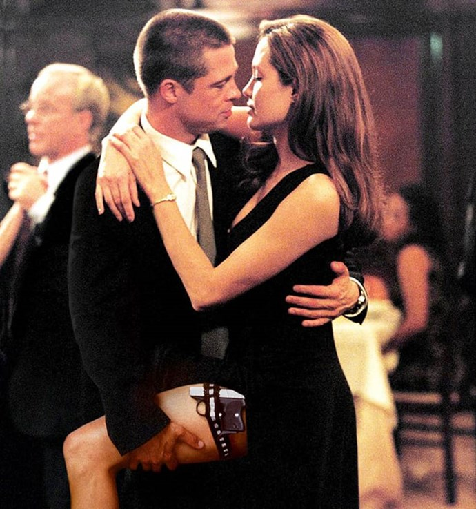 """Brad and Angelina Jolie met on the set of """"Mr and Mrs Smith"""" in in 2004. *(Source: Regency Enterprises)*"""