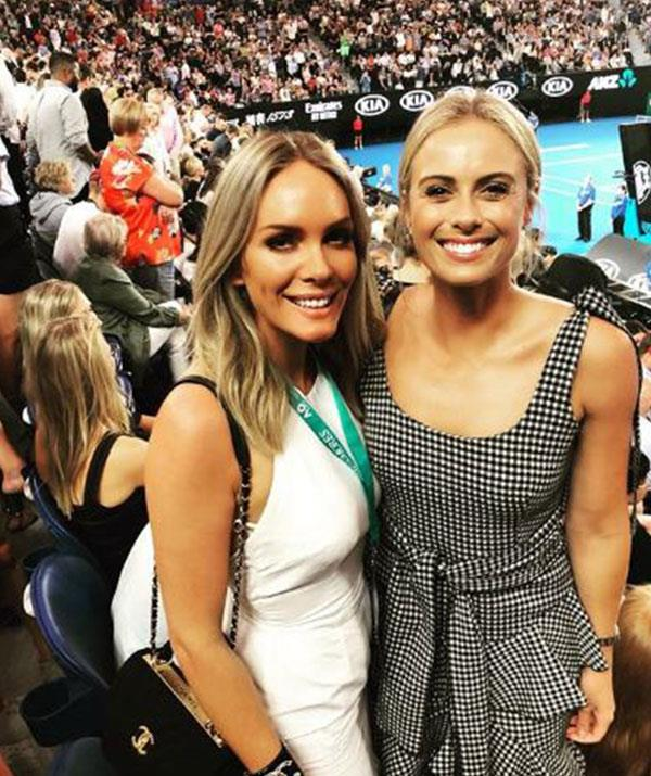 """Tennis date with @rebeccavallance 🎾🎾 Awesome to see @alexdeminaur & @rafaelnadal in action 🔥🔥 @australianopen,"" Nine stunner Sylvia Jeffreys penned alongside this snap with her good friend and designer Rebecca Vallance. *(Image: @sylviajeffreys Instagram)*"