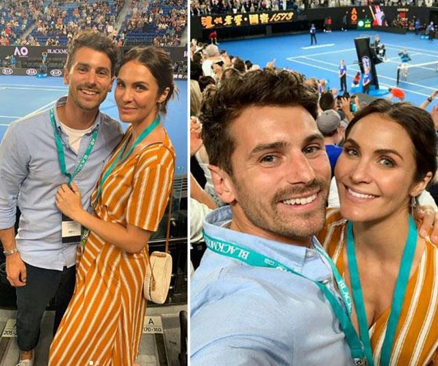 """Amazing night yesterday with this one. Thanks to @blackmoresaustralia for making it happen! 🙌🙌."" *Bachelor* couple and soon-to-be parents Matty J and Laura Byrne take their loved-up glow court side. *(Image: @matthewdavidjohnson Instagram)*"