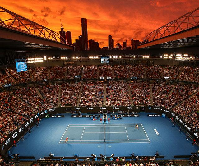 Game, set, match: A spectacular fiery red sky burns bright over the  Rod Laver Arena as Rafael Nadal beats Alex De Minaur. *(Image: Getty)*
