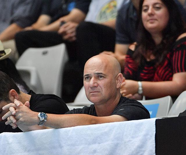 Former US tennis player Andre Agassi takes in the atmosphere. *(Image: Getty)*