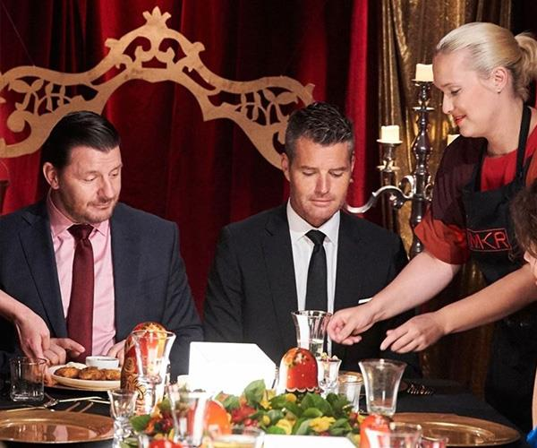 They may look dubious, but trust us, Manu and Pete try the food. *(Image: Instagram @mykitchenrules)*