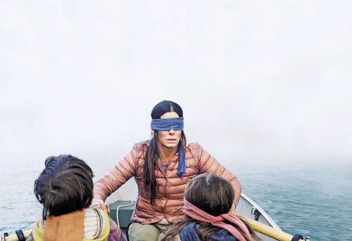 Sandra struggled to work with the blindfold.