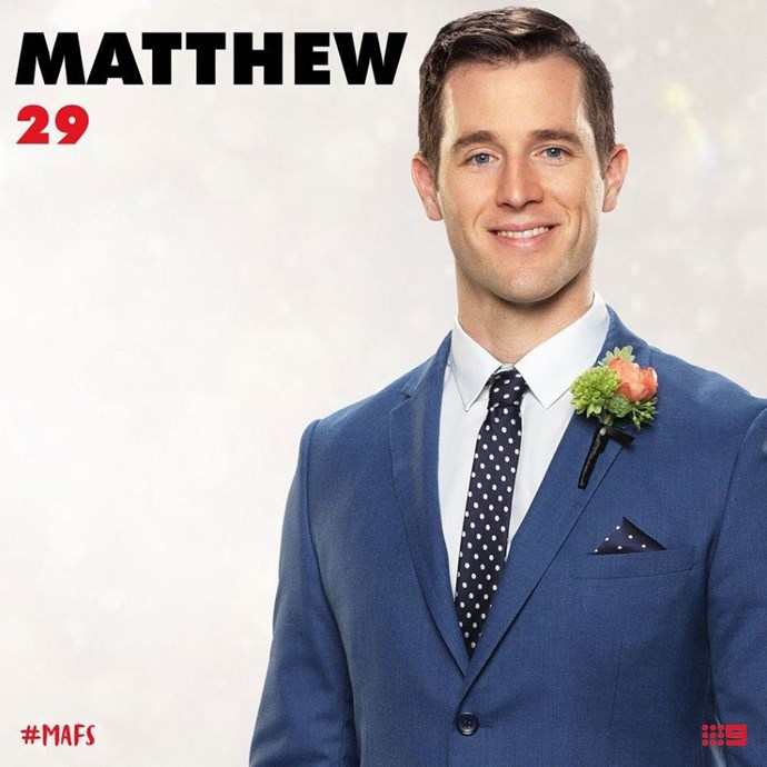 **MATTHEW BENNETT** Unfortunately, Matt doesn't have Instagram! *(Source: Channel 9/@mafs)*