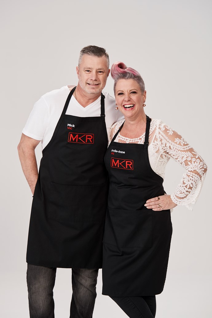 """**MICK, 47, & JODIE-ANNE, 49, VIC**  **Mellow spouses** <br><br> ***Have you ever had a brush with fame before?*** <br><br> Mick: Up until this point in my life, I haven't been anywhere near """"fame"""". <br><br> Jodie-Anne: I was on Ready Steady Cook in 2009; and I was on 60 Minutes when I was about eight years old. <br><br> ***Clues to their kitchen:*** Mick first started cooking 17 years ago, when he met Jodie-Anne."""