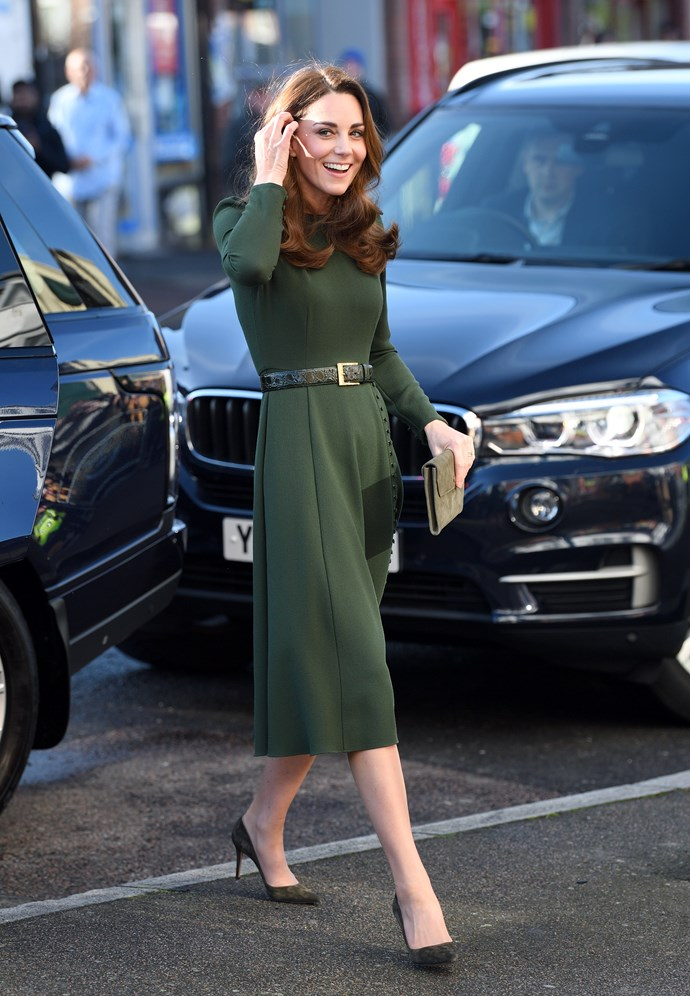 We're loving Catherine's head-to-toe olive green look. *(Image: Getty)*
