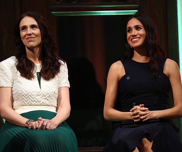 Ms Ardern and Duchess Meghan Markle in October. *(Source: Getty)*