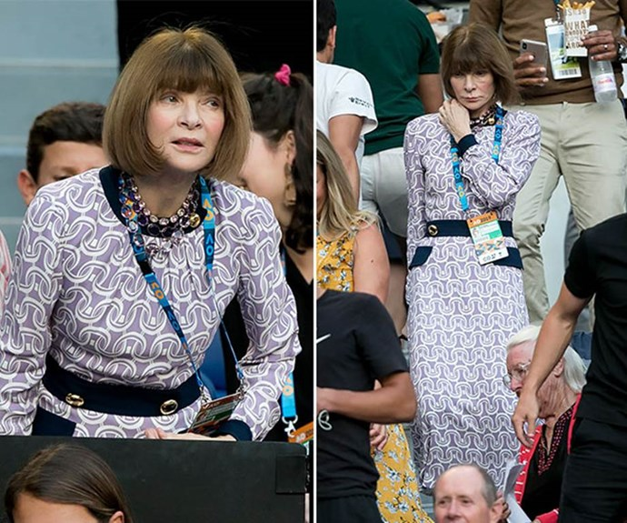 Anna Wintour was pictured in Melbourne attending the Australian Open in January. *(Image: Getty)*