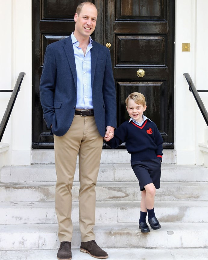 Prince William with his son Prince George on his first day of school. *(Image: Kensington Palace)*