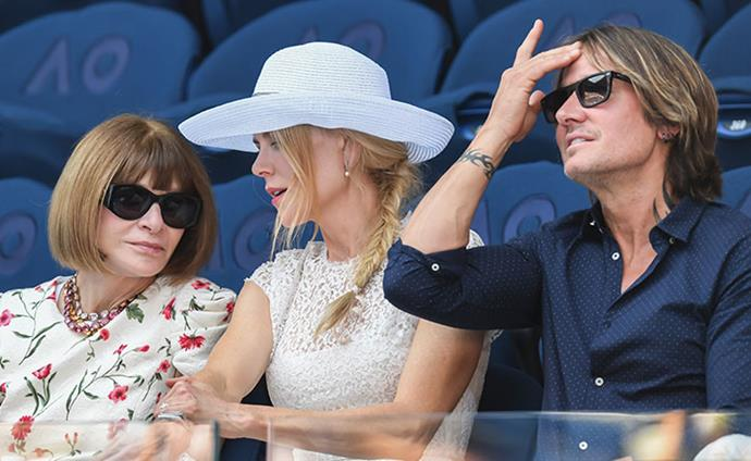 In good company! Nic and Keith were seated next to *Vogue* editrix Anna Wintour.  *(Image: Getty)*