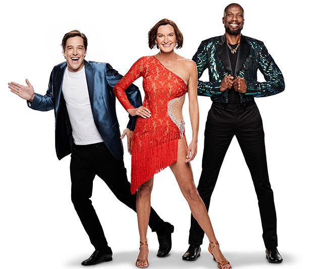 With Karl out of the picture, Cass, pictured with fellow *Dancing* co-stars Sam Johnson and Sir Curtly Ambrose, has revived her career. *(Image: Network Ten)*