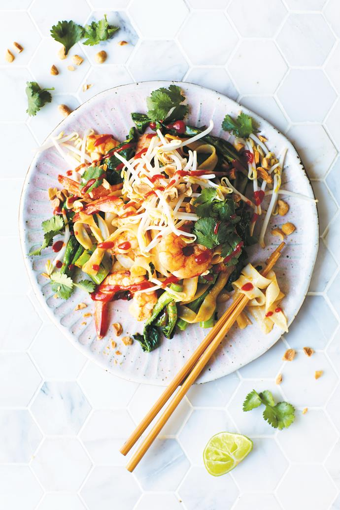 One of the many tantalising recipes from the 16:8 Intermittent Fasting book: Prawn Pad Thai. *(Image: Cath Muscat)*