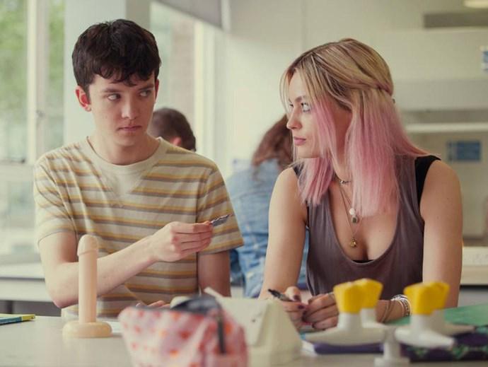 Otis and Maeve in an awkward sex-ed class. *(Image: Netflix)*