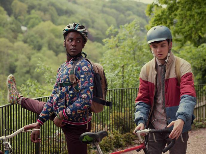 Eric and Otis in some fabulous 80s-inspired outfits. *(Image: Netflix)*