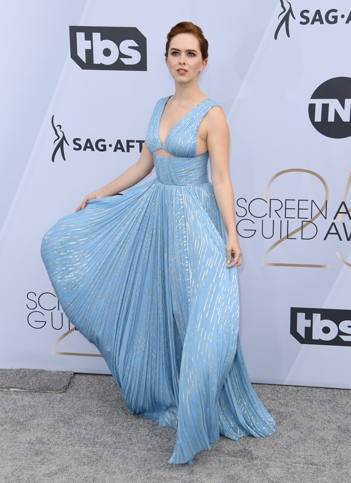 *Betrayal*'s Elizabeth McLaughlin is giving us major Elsa from *Frozen* vibes in this plunging ice-blue gown.