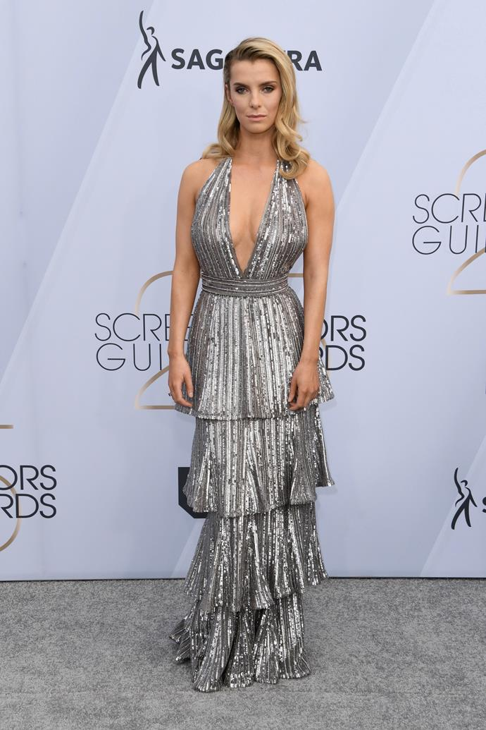 Betty Gilpin's tiered metallic-coloured dress is a total knockout.