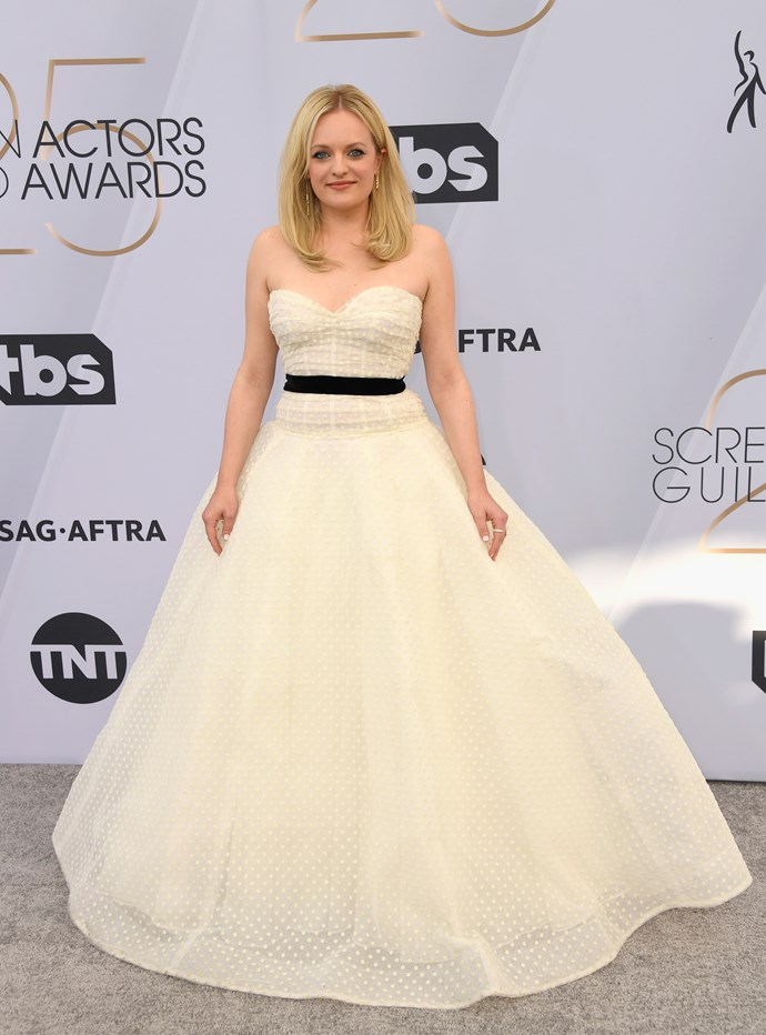 Double SAG nominee Elisabeth Moss already looks like a winner in this bridal-inspired number.