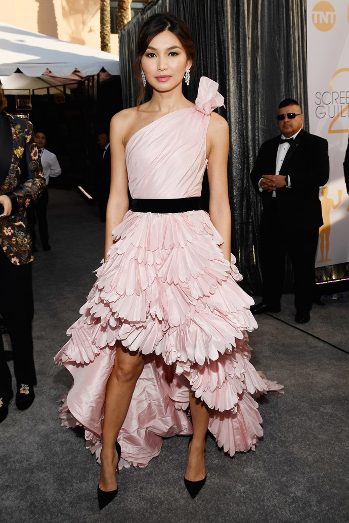 Gemma Chan proves shorter hemlines always have a place on the red carpet.