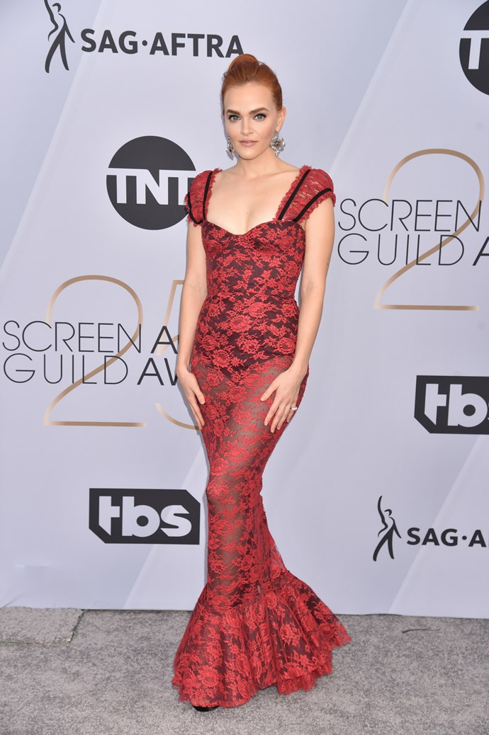 *The Handmaid's Tale* beauty Madeline Brewer takes a risk in this sheer fishtail ensemble.
