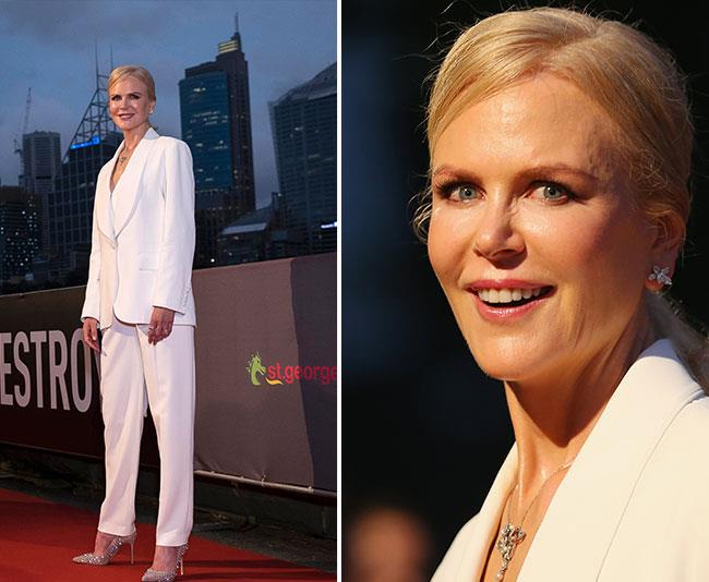 Nicole stunned in a chic white pant suit. *(Image:Getty)*
