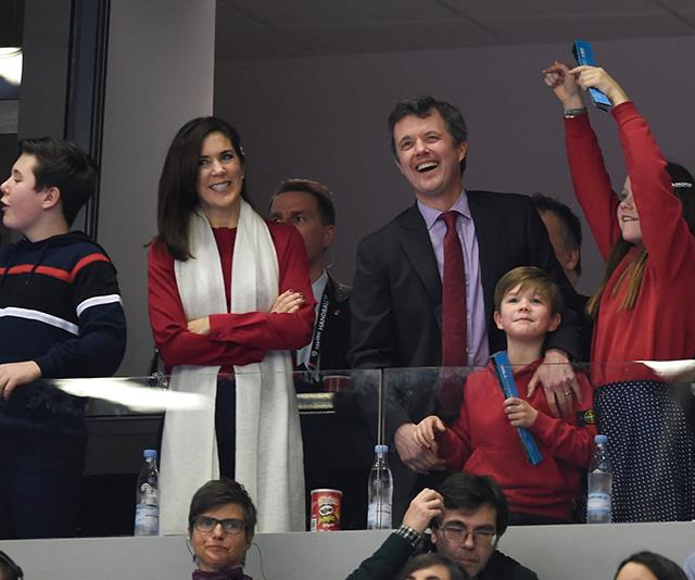 "Mary and Fred were all smiles with their family as they cheered on the [Danish national handball team](https://www.nowtolove.com.au/royals/international-royals/crown-princess-mary-children-handball-53799|target=""_blank""). *(Image: Getty Images)*"
