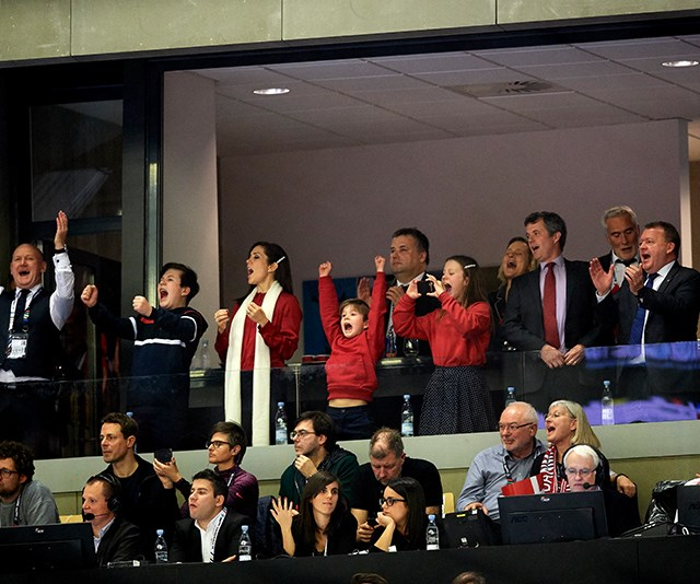 Danish Prime Minister Lars Lokke Rasmussen (far right) was also spotted cheering on the team. *(Image: Getty Images)*