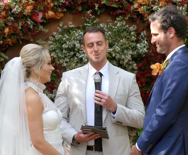 Jessika and Mick on their wedding day. *(Image: Channel Nine)*