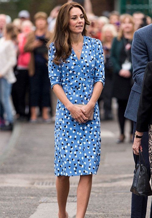 This blue Altuzarra polka dot dress is bold, bright and perfect for summer. *(Image: Getty)*