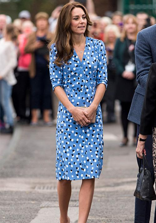 This blue Altuzarra polka dot dress is bold, bright and perfect for summer. *(Source: Getty)*