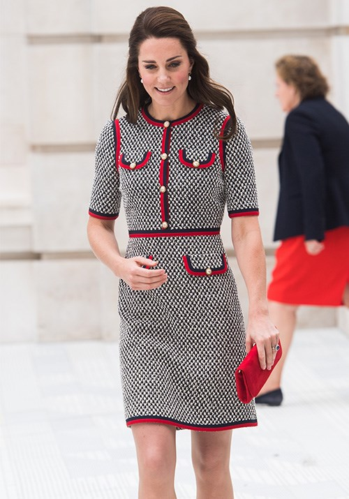 Meanwhile, a fitted, structured style can also make just as much of a statement - much like Kate's Gucci dress pictured. *(Image: Getty)*