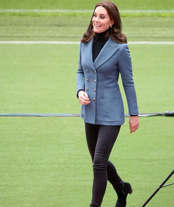 This Philosophy Di Lorenzo Serafinidouble breasted blazer-coat looks comfy and chic on the royal. *(Image: Getty)*