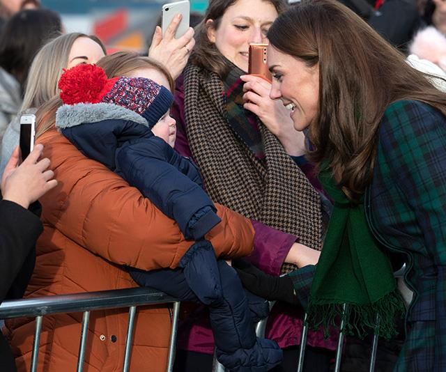 The stylish royal met thousands of well wishers with her husband Prince William in Scotland. *(Image: Getty)*