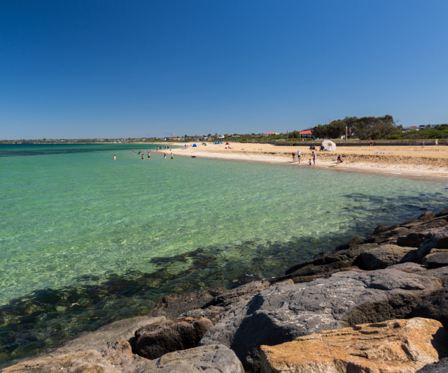 """**Mordialloc Beach/Aspendale Beach:** Melbourne is famed for it's clear, shallow beaches, and for Sam and co. Mordialloc is a go-to swim-spot. """"This is Willow's new favourite, and with Eve and Snezana being Perth girls it really makes for the perfect afternoon,"""" say Sam. *(Image: Getty Images.)*"""