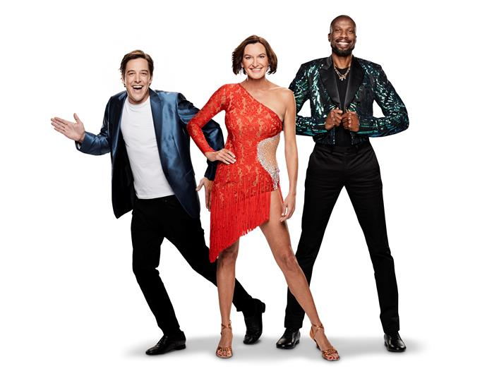 Cass Thorburn (centre) with fello *DWTS* contestants Saumel Johnson and Curtly Ambrose. *(Image: Channel 10)*