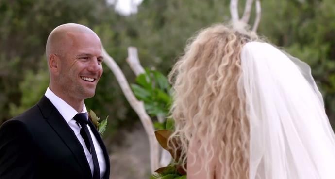Mike and Heidi at their wedding. Is it love at first sight? *(Source: Channel 9)*