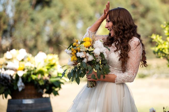 Melissa arrived at her wedding feeling flustered (Image: Nine Network).