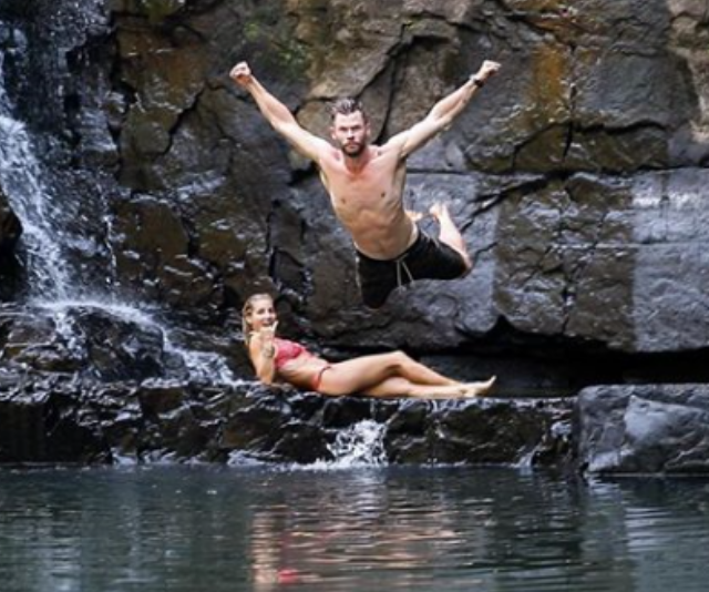 That moment you realise you married a real-life super-hero!*Image: Instagram/ChrisHemsworth.*