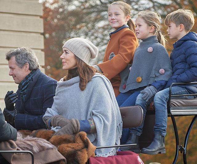 Winter wonderland! The Danish royals looked cosy as they attended a horse racing event in Denmark.  *(Image: Mega)*
