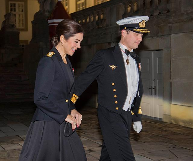 The royal couple's military ensembles paid tribute to the Naval officers recognised on the night. *(Image: Mega)*