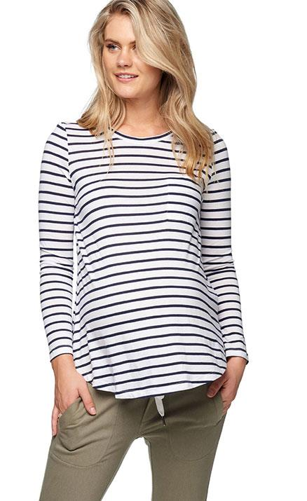 """Every wardrobe needs a classic stripe top and we think this nautical number by [Bae the Label](https://au.baethelabel.com/collections/maternity-clothing-all-items/products/stripe-maternity-top-rockabye