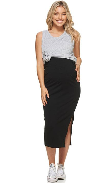 Finding a classic skirt during pregnancy can be one hell of a challenge! Enter Bae the Label's maternity skirt, which is beyond versatile. Featuring a fun high waist, a flirty thigh-split because you can totally still flash a little leg and a soft elastic waist, you'll have no regrets adding this to cart pronto! **(Price: $79, Side Line Midi Skirt)**