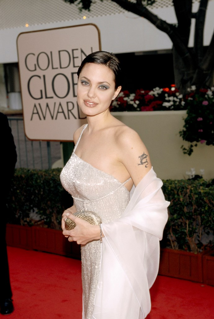 And Angelina Jolie looked like a true starlet at the 1998 Golden Globes. *(Source: Getty)*