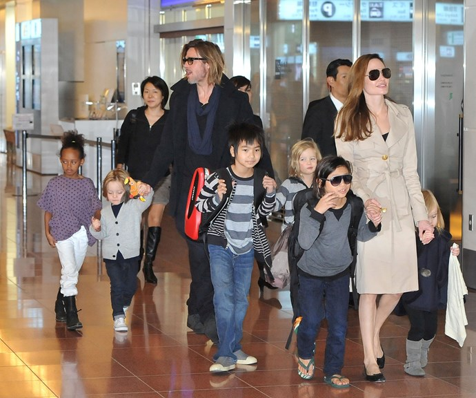 Brad Pitt and Ange with their kids. *(Source: Getty)*
